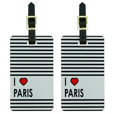 I Love Heart Paris Luggage Suitcase Carry-On ID Tags Set of 2