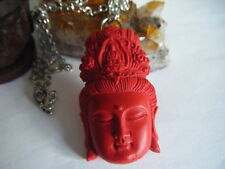 Spiritual Inspirational Necklace Kuan Yin Goddess Carved Cinnabar Pendant WOW