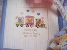 Welcome Aboard Train Birth Record Baby OOP Magazine Cross Stitch PATTERN (V)