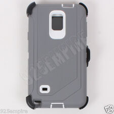 For Samsung Galaxy Note 4 Gray/White Case Cover(Belt Clip Fits Otterbox Defender