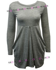 WOMENS LADIES BRUSHED MELANGE KNITTED POCKET TULIP LONG SLEEVE JUMPER DRESS