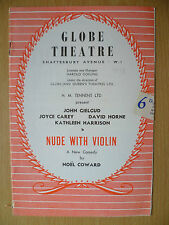GLOBE THEATRE PROGRAMME 1957- NUDE WITH VIOLIN by Noel Coward