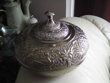 LOVELY VINTAGE ? SILVER PLATED TRINKET ? POT WITH LID, 15.5CMS X 10CMS APPROX
