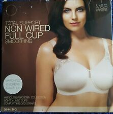 NEW M&S TOTAL SUPPORT NON-WIRED SMOOTHING FULL CUP BRA 44E - ALMOND