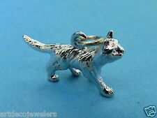 Vintage sterling silver WALKING CAT KITTEN SOLID BRACELET charm JMF CO. #F