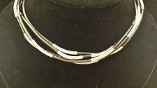 ROBERT LEE MORRIS Sterling Tubes on Black Rubber 4-Strand Necklace, Moveable!