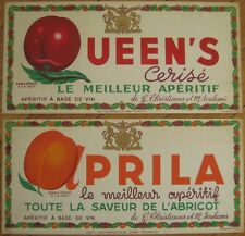 Two 1930s French Advertising Signs - Apricot & Cherry Wine - ORIGINAL