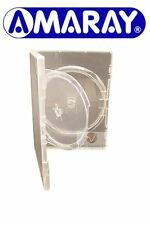 1 Double Clear DVD Case 14 mm Spine with Inner Swing Tray Holds 2 Disks Amaray