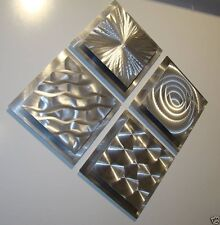 Set of 4 Silver Modern Metal Wall Art Sculptures - Abstract Decor by Jon Allen