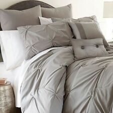 New Luxurious Embellished 8-piece Comforter Set Soft Queen Size Bed Bedding Gray