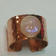 10mm Man moon carved face rainbow moonstone ring adjustable size gold fill