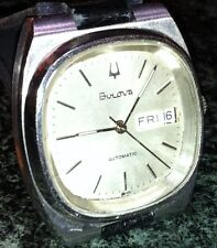SWISS BULOVA WATCH DAY DATE AUTO SILVER FACE SS CASE  BLACK LEATHER BAND