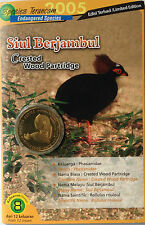 Malaysia Coin Card - Endangered Birds Series No. 8 Crested Wood Partridge