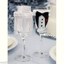 Wedding Party Toasting Wine Glass Covers Bride and Groom Tux Bridal Veil 2 Psc