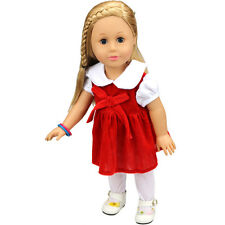 for gift set red clothes dress for 18inch American girl doll party new b530
