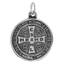 """7/8"""" (21mm) Sterling Silver St. Benedict Round-shaped Medal Pendant / Charm"""