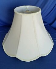 Vintage Silk Lamp Shade Bell Scalloped 8 Panel Off White Fancy Trim