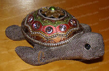 1385 - Silver Beaded Sea Turtle (by Kubla Crafts) Figurine