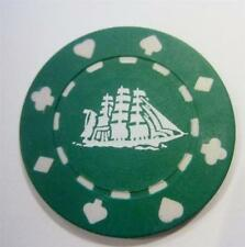 Cutty Sark Clay Composite Vintage Poker Chip Set 10 Clipper Ship Green NEW cond