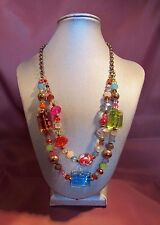 Goldtone 2-Strand Chain NECKLACE w/Multi-Color Glass & Plastic Beads