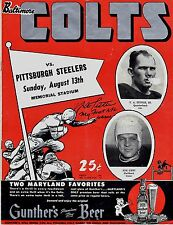 "Y.A. Tittle Signed Baltimore Colts 8/13/50 Program W/""My First Game"" *VERY RARE*"