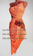 L3991 women ballroom latin swing rumba samba chacha US 8 dance dress orangesexy