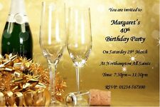 50 PERSONALISED 18th/21st/40th/50th/60th BIRTHDAY PARTY INVITES - GOLDEN DRINKS