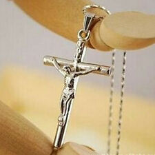 Women Jewelry Christ Cross Silver Jesus Crucifix Sword Necklace Pendant Chain CA