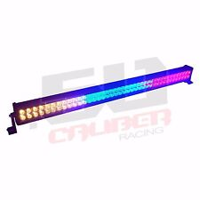 Red Blue Amber Colored LED Light Bar & Remote Flood Spot Combo Beam Waterproof