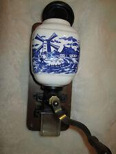 Wand Kaffee Mühle 30 cm x 10 cm blaues holländisches Mühlen Motiv gebraucht