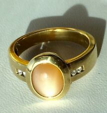 14 Kt. Diamond Moonstone Ring - Cat's Eye Peach Color - Custom - Make Offer!