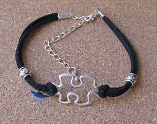 AUTISM AWARENESS BRACELET WITH METAL BEADS ON BLACK SUEDE CORD LOBSTER CLASP