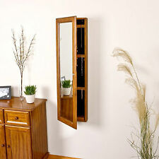 Mirrored Jewelry Armoire Wall Mount Wood Cabinet Storage Box Ring Organizer Oak
