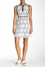 *CLEARANCE* $148 NANETTE LEPORE WHITE NAVY DAISY BONDED LACE DRESS NWT! 12, L