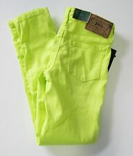 Ralph Lauren Girls Aubrie Denim Legging Neon Yellow Sz 8 - NWT