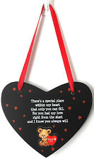 FOREVER LOVE – Adorable Bear Wooden Heart Shaped Plaque Hanger with Love Verse