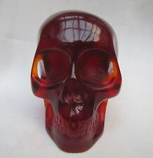 Collection Rare Chinese Vintage Hand Carved Amber Skull BIG statue Decoration