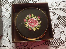 Collectable vintage  tapestry embroidered needlepoint makeup compact in box