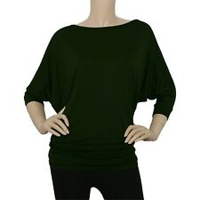 IRON PUPPY Womens 3/4Slv BoatNeck DOLMAN Batwing Top Knit Loose Blouse Shirts