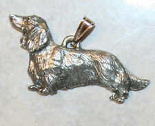 DACHSHUND Long Hair Dog Harris Fine Pewter Pendant USA Made