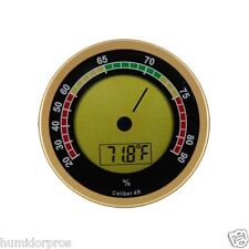 Caliber IV 4R Digital Humidor Hygrometer LCD Display User Calibration Round Gold
