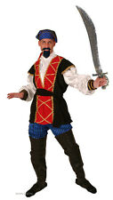 MENS DELUXE PIRATE COSTUME HOOK MEDIEVAL TUDOR FANCY DRESS OUTFIT 5PC NEW L XL