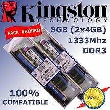 Memoria RAM DDR3 8GB (2x4GB) 1333Mhz - Kingston ¡ NUEVAS ! - 100% COMPATIBLE
