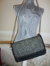 seude tweed -metallic thread ugg handbag....current/clutch/shoulder crossbody