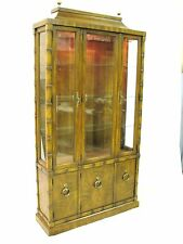 "1970's Drexel Heritage ""Windward"" Illuminated China Cabinet, Asian Bamboo"