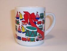 Holiday Christmas Coffee Mug Hot Chocolate Egg Nog Toys Trains Drums Big Red Bow