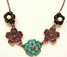 ACCESSORIZE GOLD NECKLACE_FLOWER DESIGN_TURQUOISE & PURPLE FLOWERS & PEARLS