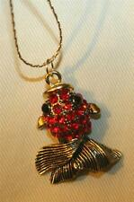 Delightful Sculpted Goldtone Fish Figural Ruby Red Rhinestone Pendant Necklace