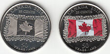 Canada 2015 Canadian Flag 25-cent 2 Coins (Coloured & Plain) UNC From Mint Roll