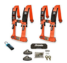 Pro Armor 4 Point 2 Padded Seat Harness Pair Mount Kit Bypass Orange General